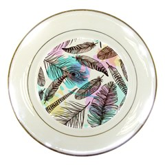 Hand Drawn Feathers Seamless Pattern Porcelain Plates