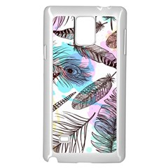 Hand Drawn Feathers Seamless Pattern Samsung Galaxy Note 4 Case (white)