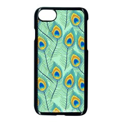 Lovely Peacock Feather Pattern With Flat Design Iphone 8 Seamless Case (black) by Vaneshart