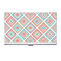 Ethnic Seamless Pattern Tribal Line Print African Mexican Indian Style Business Card Holder