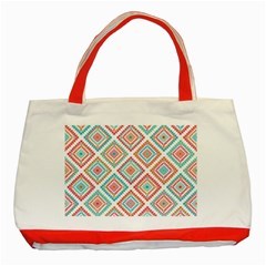 Ethnic Seamless Pattern Tribal Line Print African Mexican Indian Style Classic Tote Bag (red)