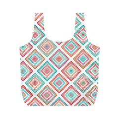 Ethnic Seamless Pattern Tribal Line Print African Mexican Indian Style Full Print Recycle Bag (m)