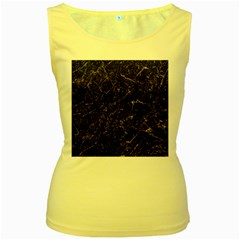 Black Marbled Surface Women s Yellow Tank Top