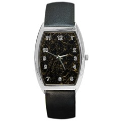 Black Marbled Surface Barrel Style Metal Watch