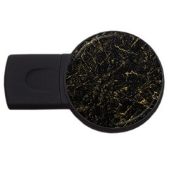 Black Marbled Surface Usb Flash Drive Round (4 Gb) by Vaneshart