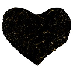 Black Marbled Surface Large 19  Premium Heart Shape Cushions
