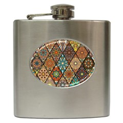 Colorful Vintage Seamless Pattern With Floral Mandala Elements Hand Drawn Background Hip Flask (6 Oz)