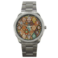 Colorful Vintage Seamless Pattern With Floral Mandala Elements Hand Drawn Background Sport Metal Watch