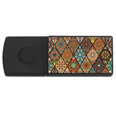 Colorful Vintage Seamless Pattern With Floral Mandala Elements Hand Drawn Background Rectangular Usb Flash Drive