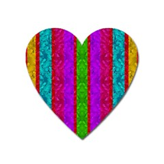 Rose Petals As A Rainbow Of Decorative Colors Heart Magnet by pepitasart