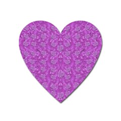 Roses And Roses A Soft  Purple Flower Bed Ornate Heart Magnet by pepitasart