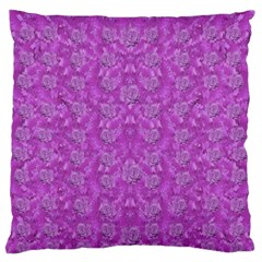 Roses And Roses A Soft  Purple Flower Bed Ornate Large Flano Cushion Case (one Side)