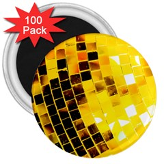 Golden Disco Ball 3  Magnets (100 Pack) by essentialimage
