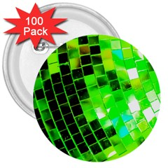 Green Disco Ball 3  Buttons (100 Pack)  by essentialimage