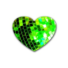 Green Disco Ball Heart Coaster (4 Pack)  by essentialimage