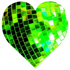 Green Disco Ball Wooden Puzzle Heart by essentialimage