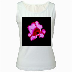 Pink And Red Tulip Women s White Tank Top