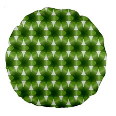 Green Color Flower Floral Pattern Large 18  Premium Round Cushions by AnjaniArt