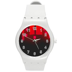 Light Neon City Buildings Sky Red Round Plastic Sport Watch (m)