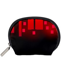 Light Neon City Buildings Sky Red Accessory Pouch (small)