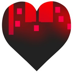 Light Neon City Buildings Sky Red Wooden Puzzle Heart