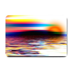 Lake Sea Water Wave Sunset Small Doormat  by HermanTelo