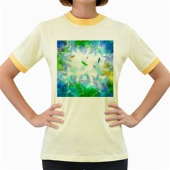 Scrapbooking Tropical Pattern Women s Fitted Ringer T-Shirt