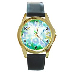 Scrapbooking Tropical Pattern Round Gold Metal Watch