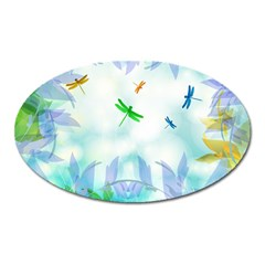 Scrapbooking Tropical Pattern Oval Magnet