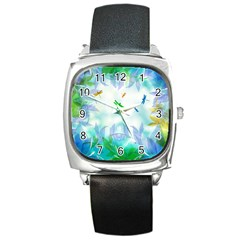 Scrapbooking Tropical Pattern Square Metal Watch