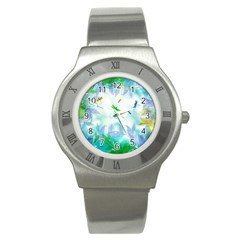 Scrapbooking Tropical Pattern Stainless Steel Watch
