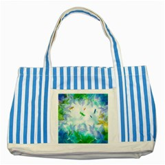 Scrapbooking Tropical Pattern Striped Blue Tote Bag