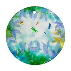 Scrapbooking Tropical Pattern Round Ornament (Two Sides)