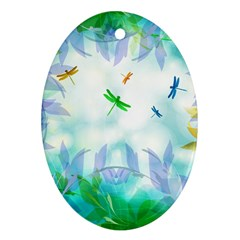 Scrapbooking Tropical Pattern Oval Ornament (Two Sides)