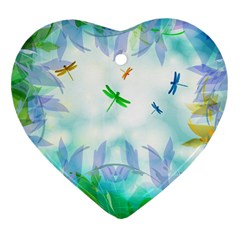 Scrapbooking Tropical Pattern Heart Ornament (Two Sides)