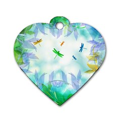 Scrapbooking Tropical Pattern Dog Tag Heart (One Side)
