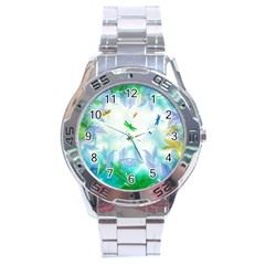 Scrapbooking Tropical Pattern Stainless Steel Analogue Watch
