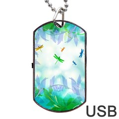 Scrapbooking Tropical Pattern Dog Tag USB Flash (One Side)