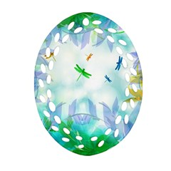 Scrapbooking Tropical Pattern Oval Filigree Ornament (Two Sides)