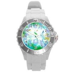 Scrapbooking Tropical Pattern Round Plastic Sport Watch (L)