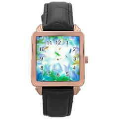 Scrapbooking Tropical Pattern Rose Gold Leather Watch