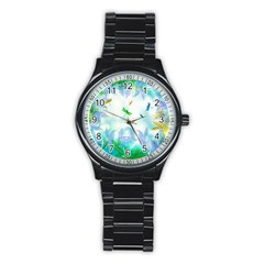 Scrapbooking Tropical Pattern Stainless Steel Round Watch