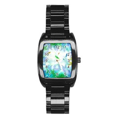 Scrapbooking Tropical Pattern Stainless Steel Barrel Watch