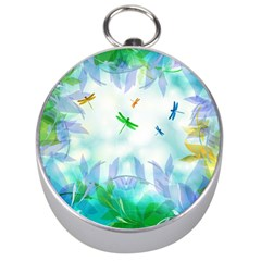 Scrapbooking Tropical Pattern Silver Compasses