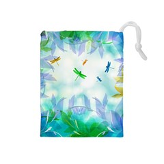 Scrapbooking Tropical Pattern Drawstring Pouch (Medium)