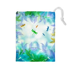 Scrapbooking Tropical Pattern Drawstring Pouch (Large)