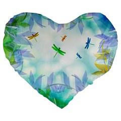 Scrapbooking Tropical Pattern Large 19  Premium Flano Heart Shape Cushions