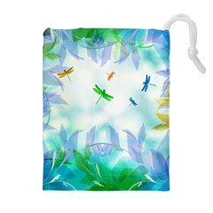 Scrapbooking Tropical Pattern Drawstring Pouch (XL)