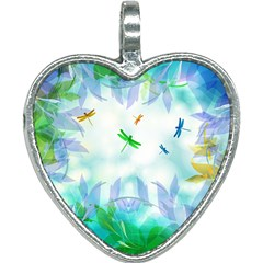 Scrapbooking Tropical Pattern Heart Necklace
