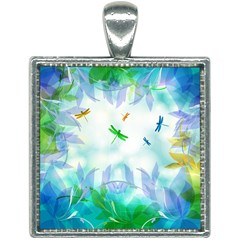 Scrapbooking Tropical Pattern Square Necklace